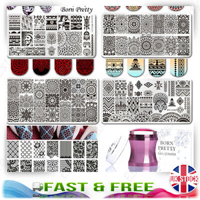 Born Pretty Nail Art Stamping Plates Animal Lace Aztec Floral Metal Stampers