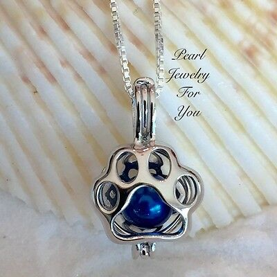 PAW PRINT Dog Cat STERLING SILVER Pearl Cage Pendant Necklace wish akoya oyster