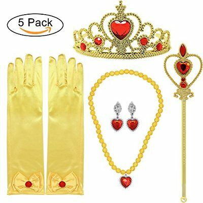 Princess Belle Dress up Party Accessory Gift Set: Gloves, Wand, Tiara & Necklace