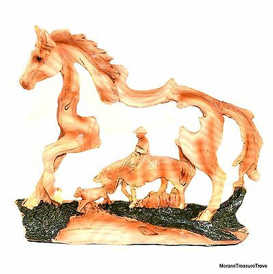 Faux Wood Country Western Cowboy Riding Horse w Dog Figurine Statue