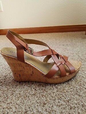 Guess Leather and Cork Platform Sandals Size 8.5