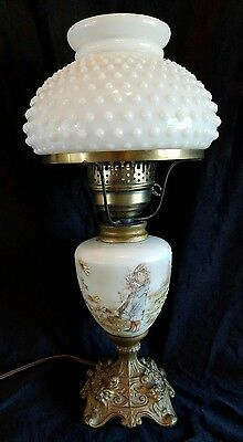 Antique Modified Oil Lamp Hand Painted Mary Gregory Style