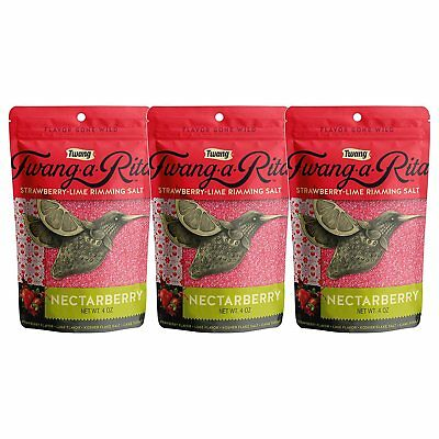 Twang-a-Rita Nectarberry Strawberry-Lime Flavored Cocktail Rimming Salt - 3pk