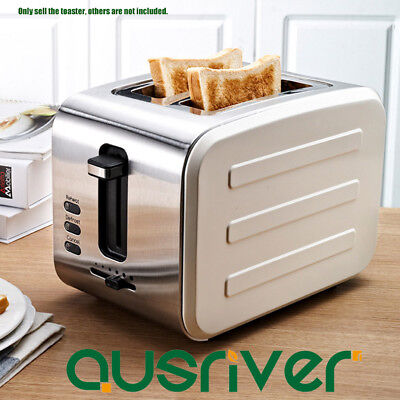 430 Stainless Steel Electric Bread Toaster Oven Wide Slot 2 Slice Toaster Beige
