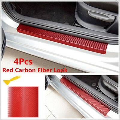 4Pcs Carbon Fiber Look Car Door Plate Sill Scuff Cover Anti-Scratch Sticker Red&