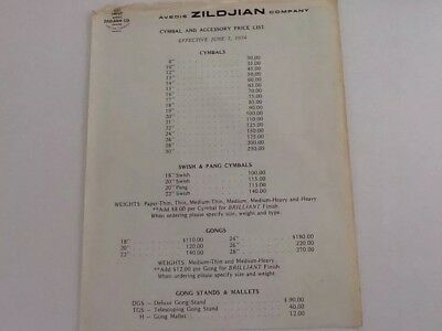 Avedis Zildjian Cymbal And Accessory  Price List  June 1St 1974