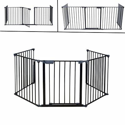 Extendable Fireplace Gate Fence Metal Hearth Fire Guard Kids Baby Protection SE