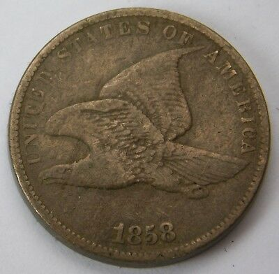 1858 SL Small Letters Flying Eagle Cent VF 1c Penny 352