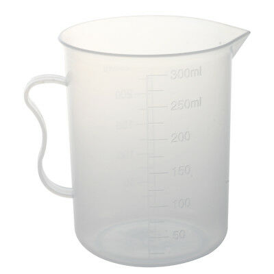 Laboratory 250mL Capacity Clear White Plastic Measuring Cup Z3Q3