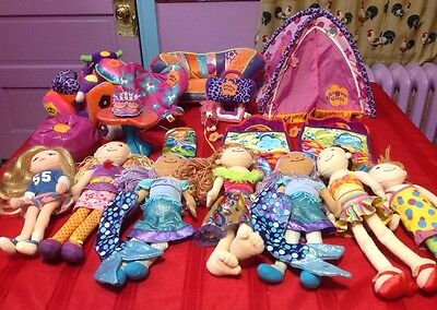 Groovy Girls Lot; Dolls, Camping Tent, Sleeping Bag Scooter Jet Ski Couch Etc!