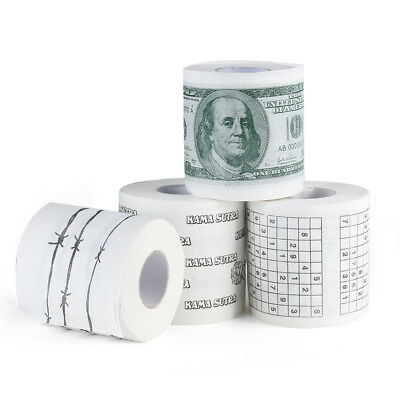 Novelty WC Bath Funny Toilet Paper Tissue Roll 100 Dollar Sudoku Money Printed