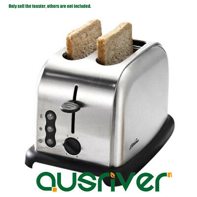 Silver Stainless Steel Electric Toaster Perfect Fit Wide Slot 2 Slice Toaster