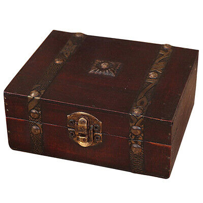 Wooden Vintage Lock Treasure Chest Jewelery Storage Box Case Organiser Ring K2V1