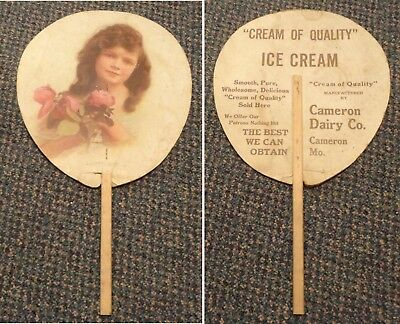 1913 Cameron Missouri Cream of Quality Ice Cream ad fan - American Beauties