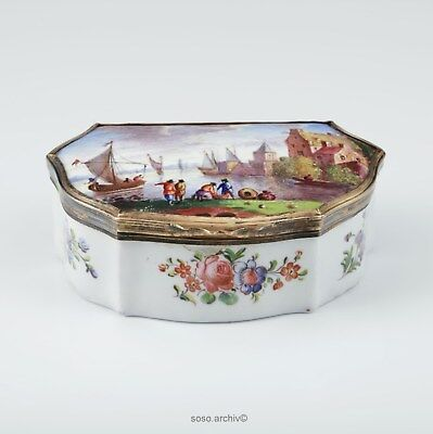 Email Snuffbox England UM 1770/1780 with Fine Painting Port Tin Snuff Box