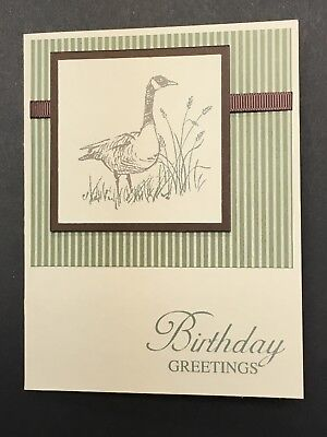 Handmade Stampin Up Masculine Birthday Card Wetlands Goose Nature