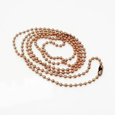 """1 x Rose Gold Tone 2.4mm Stainless Steel 75cm 29.5"""" Ball Chain Necklace"""