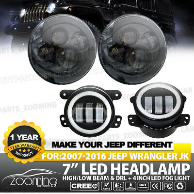 """7"""" 80W CREE LED Projector Headlights & Angel Eyes Fog Light Combo For 07-17 Jeep"""