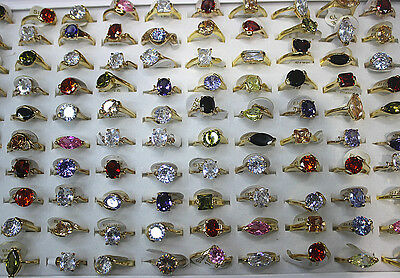 Wedding Jewelry Job Lots 70pcs Charms Cubic Zirconia Gold Plated Lady's Rings