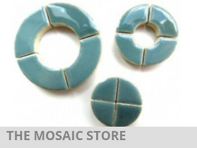 Teal Ceramic Circle Bits - Mosaic Tiles Supplies Art Craft