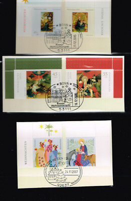 Christmas Germany 2005 - 2015, first day issue cancelled, cpl., 18 stamps