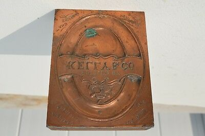 Fine Antique Wooden Printing Block For Kelly Bottle Company