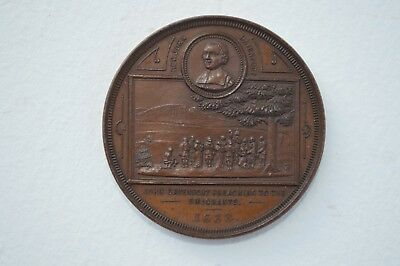 Rare Antique Bronze Medal Commemorating 250 Years Settlement Of New Haven, Conn