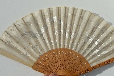 Beautiful Chinese Hand Carved Wooden Handheld Fan Fantastic Embroidery Dragon手扇