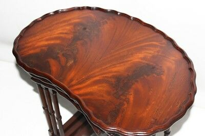 Vintage Kidney Shaped Mahogany Nest of 3 Coffee Tables - FREE Shipping [PL4083]