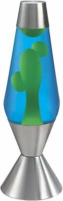 "16.3"" Premier Silver Aluminum Base Lava Lamp Light Yellow Wax Blue Liquid 120V"