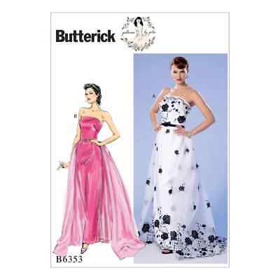 BUTTERICK SEWING PATTERN Misses\' Prom Evening Wedding Dress Train 6 ...