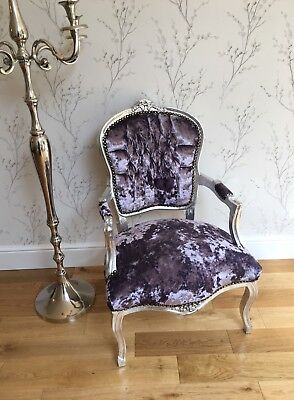 French Louis style Shabby Chic Lilac crushed Velvet Chair with Silver Frame
