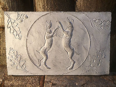 Stone boxing hares sculpture, hare art, farmhouse artwork, moon and hare art