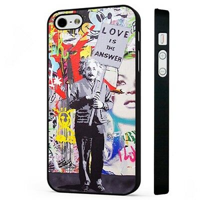 banksy einstein love is the answer BLACK PHONE CASE COVER fits iPHONE