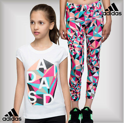 SALE - Adidas Girls Rock It All Over Print T-Shirt Top Age 2-3-4-5-6 Years