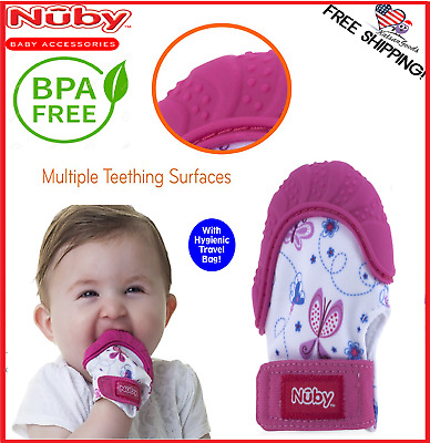 Nuby Happy Hands Soothing Teething Mitten with Hygienic Travel Bag Flowers  Pink