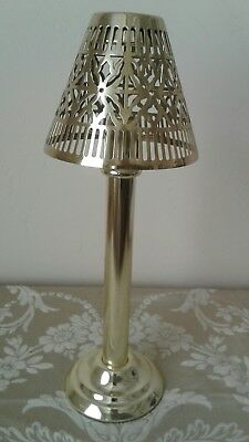 Vintage Brass Metal Candle Holder and Pierced Shade
