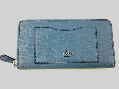 differently 67f32 42d78 NEW AUTHENTIC COACH F21037 Accordion Glitter Leather Zip Around Wallet Dusk  Blue