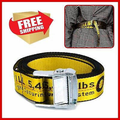 2299a75e8440 Off White Belt 2018 Industrial Yellow Strap Printed Silver Head Tie Down  200 CM