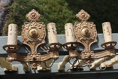 Pair Of Art Deco Gothic Tudor Castle Medieval Candle Style Sconce Light Fixture