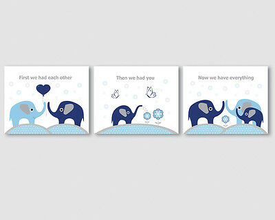 3 prints, art for baby boy nursery, room - elephants family, navy blue, grey