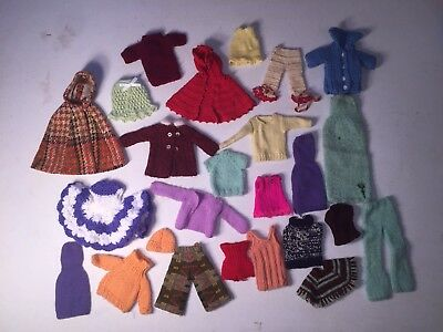 25 pc Mixed Lot of Vintage Handmade Barbie Clothes Sweater, Dress, Pants,