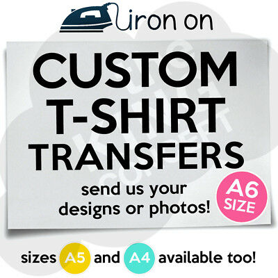Custom Iron On T-Shirt Transfer A6 Your Image Photo Design Hen Stag Personalised