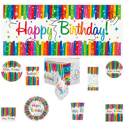 RAINBOW RIBBONS Birthday Party Tableware, Decorations, Invitations or Balloons
