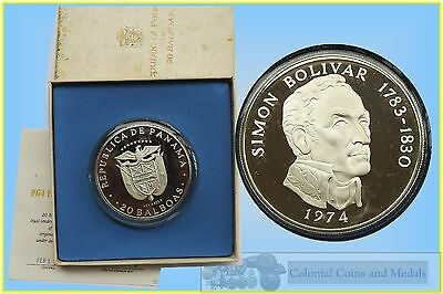 Panama :- Large Silver 20 Balboas Coin 1974 Proof