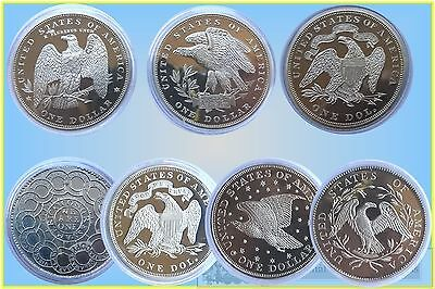 USA. Fantasy Dollas in Sivered Base Metal (Total 7 Coins)