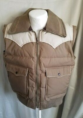 Men's Vintage Ski Daddle Pack-In Down Feather Puffer Puffy Vest Large L