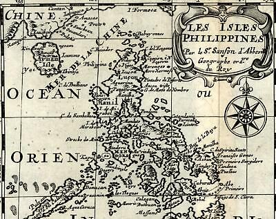 Philippines islands Pacific Mariana Ladrones Taiwan 1699 Sanson rare old map