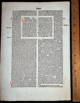FREE SHIP!! Incunabula Latin Bible Leaf Nuremberg 1497 BOOK OF NUMBERS CH 25