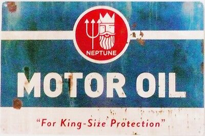 NEPTUNE MOTOR OIL  Metal tin Sign aged look all weather sign.